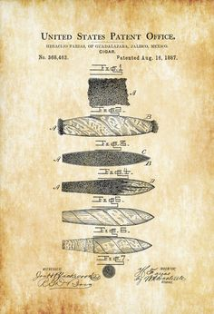 Cigar Patent - Tobacco Patent Cigar Lounge Sign Cuban Cigar Cigar Art Cigar Decor Man Cave by PatentsAsPrints