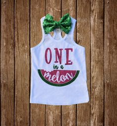 ONE in a Melon Watermelon First Birthday tank or bodysuit