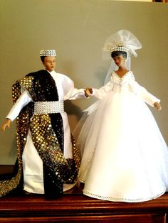 African American Wedding Dolls  Wedding by Divineangelshop on Etsy, $150.00