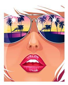 illustration sunglasses palm trees