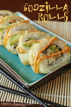 Shrimp Tempura Godzilla Rolls are by far my favorite sushi roll that I can make at home. Cream cheese, avocado, and shrimp in a fried roll with spicy mayo. I Love Food, Good Food, Yummy Food, Tasty, Seafood Recipes, Cooking Recipes, Onigirazu, Mets, Family Meals