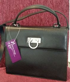 S.Ferragamo Black Pebble Leather With Silver Hardware Condition Good