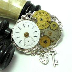 Steampunk Gears Vintage Dials Brooch OOAK Locket by mysticpieces, $72.00