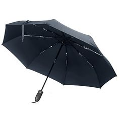 Travel UmbrellaBRINCH Auto Open  Close 55MPH Windproof Strong Waterproof Durable Portable Compact Rain Umbrella with Dupont Teflon Coated Fabric  BlueHandle3 -- Check out the image by visiting the link.