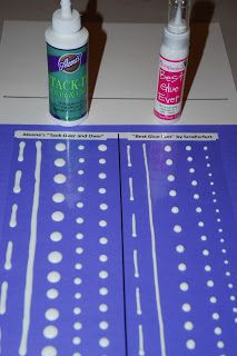 "Making Your Own Glue Dots: Blogger tried  Aleene's Tack-It Over and Over, and ScraPerfect's Best Glue Ever. Top comment: ""I use the Alene's tack it over and it works like a charm. I use my backing from my transfer paper. I fold a sheet in half 6x6, glue dot one side, let dry and then cover with the second half. Easy to store and easy to use""."