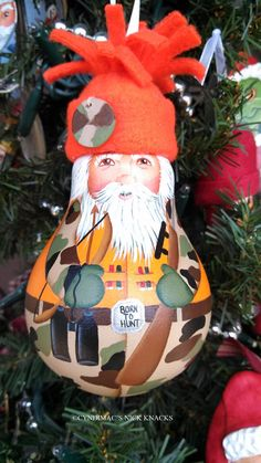Santa Hunter Lightbulb Ornament by CyndiMacsNickKnacks on Etsy, $17.95