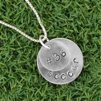 Our Sterling Silver Hand Stamped Team Number and Soccer Double Layered Charm Necklace features our hand stamped pendant stamped with your team numbers layered over another hand stamped pendant stamped with the word soccer. Soccer Necklace, Soccer Accessories, Personalized Dog Tags, Sterling Silver Necklaces, Hand Stamped, Washer Necklace, Numbers, Bows, Pendant