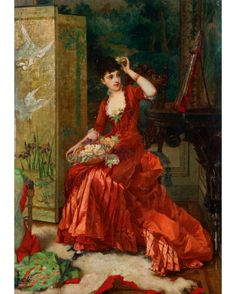 Girl with a Basket of Flowers, by Frans Verhas, ca. 1870s-1880s