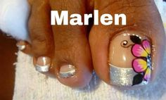 Pies                                                       …                                                                                                                                                                                 Más Fancy Nails, Trendy Nails, Love Nails, Cute Pedicure Designs, Toe Nail Designs, Cute Pedicures, Manicure And Pedicure, Acrylic Nail Art, Toe Nail Art