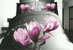 Šedé povlečení na postel z mikrovlákna s květem