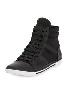 Kenneth Cole Sun Down Leather/Neoprene High-Top Sneaker, Black, Men's, Size: 9