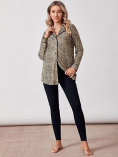 Maternity Leopard Button Front Shirt With Legging Pajama Set