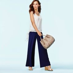 Spring #OOTD - mark. Light & Layered Top, Navy Gazing Pants, White Idea Wedges, Free & Clear Necklace, and String Along Bucket Bag! #springfashion #springstyle #lotd