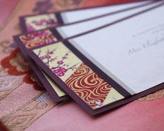 Burgundy Kimono wedding invitations - gorgeous jewel tones.