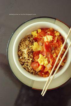 chinskie stir-fry z jajkiem i pomidorami Nasu, Stir Fry, Chili, Fries, Soup, Lunch, Chile, Eat Lunch, Soups