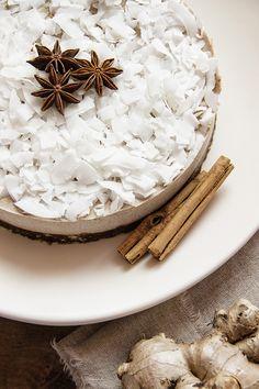 Yogi Cake! Raw Vegan Cake with Ayurvedic chai spices, citrus, coconut and lucuma. Refined sugar free. Paleo friendly.