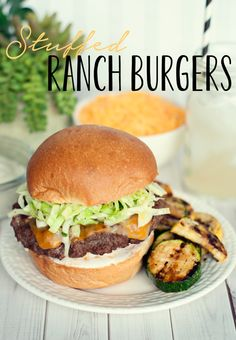 Stuffed Ranch Burgers with Citrus Slaw by Three in Three #RollIntoSavings #shop #cbias