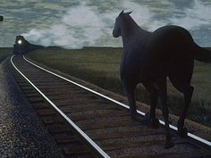 Horse and Train, Alex Colville - there always seemed to be a tension in his work, a sense of forboding even in those paintings which were quite peaceful - the eye of the storm
