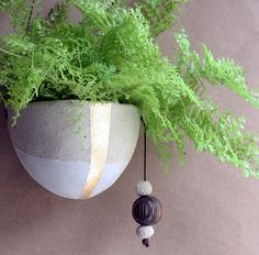 Ceramic miniature hanging planter with earthy by jolucksted, £29.00
