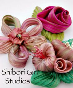 Shibori ribbon flowers from Shibori girl -- this page also has tips and videos for working with shibori ribbon