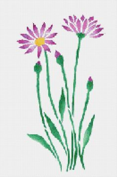Purple Daisy Cross Stitch Pattern Flower Floral Wall Art PDF PATTERN ONLY Fabric: 14 count Aida Counted Cross Stitch Stitches: 131 x 199 Size: x inches or x cm Colours: DMC Stencil Reference You will receive this Cross Stitch Heart, Cross Stitch Borders, Cross Stitch Flowers, Cross Stitch Designs, Cross Stitching, Counted Cross Stitch Patterns, Learn Embroidery, Silk Ribbon Embroidery, Cross Stitch Embroidery