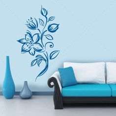 Flor Abstrata - 02 em vinil autocolante decorativo. Aplique esta imagem em qualquer superfície lisa (paredes, portas, janelas, mobílias, chu...