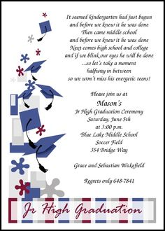 Find largest selection of Junior High School Graduation With Caps Galore Announcements And Invitations online. Save with our 10 free Junior High School Graduation With Caps Galore Announcements And Invitations from Invitations By U. Graduation Announcements Wording, Graduation Invitation Wording, Graduation Poems, 5th Grade Graduation, High School Graduation, Graduate School, Graduation Celebration, Invitation Ideas, Aaliyah
