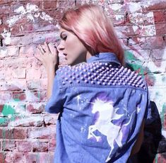 The Last Unicorn Studded Denim Shirt from cherryunderground on Etsy. Saved to Cherry Underground Clothing. Pastel Goth Fashion, Grunge Fashion, Glam Rock, Underground Clothing, Stencil, Denim Outfit For Women, Last Unicorn, Unicorn Shirt, Kawaii Goth