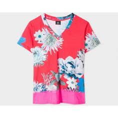 PS Paul Smith Women's Red 'Ocean Floral' V-Neck Cotton T-Shirt ($140) ❤ liked on Polyvore featuring tops, t-shirts, red, floral tops, cotton v neck t shirts, red v neck t shirt, floral t shirt and red striped t shirt