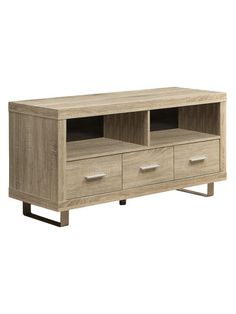 """This may be just right but need to make sure the width isn't much more than the current set up - 48"""" W x 18"""" D x 24"""" H  Reclaimed-Look 3-Drawer TV Stand by Monarch Specialties at Gilt"""