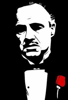Marlon Brando as Don Vito Corleone, using Krita Beta. Pop Art, Don Corleone, Flower Canvas, Stencil Art, Stenciling, Silhouette Art, The Godfather, Godfather Quotes, Wall Art Pictures