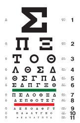 Greek eye chart, also Japanese, Korean, Cyrillic and Yiddish. Office decor??