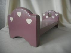 Doll Bed, Pink/Purple Color, White Stencil Hearts, Domed Headboard, Hardwood, Toy Bed, Toys For Playing House, Let's Pretend, Princess Doll by Treasurama on Etsy