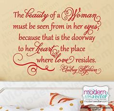 Audrey Hepburn Beauty Quote Vinyl Wall Decal. Audrey Hepburn Vinyl Wall Quote Vinyl Wall Decal Choose your size and color.