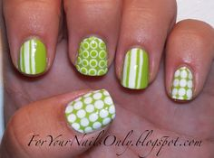 Green with dots and stripes nails ногти, советы. Get Nails, How To Do Nails, Hair And Nails, Polka Dot Nails, Striped Nails, White Nails, Polka Dots, For Your Nails Only, Nails Short