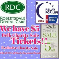 Don't forget we have $5 Belk Charity Sale Tickets! Come get yours and all of your donation will go directly to Relay for Life. #RDCcares #purplepower - http://ift.tt/1HQJd81