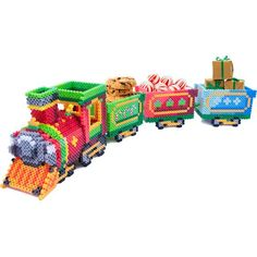 Create this festive Holiday Train to use as a colorful decoration this Christmas! Fill the cars with candies, ornaments, or tiny gifts for the ultimate effect. Easy tab/slot assembly.