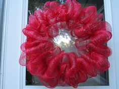 Red deco mesh wreath ready for you to add by BabesnBowsBoutique