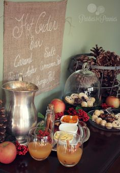 Baby Shower How beautiful is this Hot Cider Bar! And just like that, I& so over summer & willing the temperature to drop. you can find . Apple Cider Bar, Pear Cider, Teacher Appreciation Luncheon, Chili Bar, Fall Picnic, Ladies Luncheon, Baby Shower Fall, Fall Baby, Hot Chocolate Bars