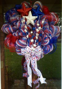 Patriotic Wreath by JustADreamXOX on Etsy, $90.00