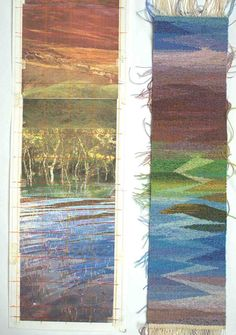 """Joan Baxter Squared Up Design and Sample woven for colors for """"Crossing the Island"""""""