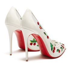 Christian Louboutin Cherry 100mm embellished pumps ($1,650) ❤ liked on Polyvore featuring shoes, pumps, christian louboutin stilettos, metallic pumps, pointed toe high heels stilettos, christian louboutin shoes and high heel stilettos