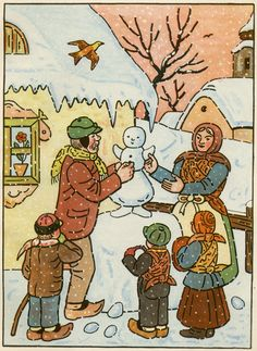 Illustration by Josef Lada for the book Pohadky (by K. Bloom Book, Children's Book Illustration, Christmas Snowman, Famous Artists, Vintage Christmas, Mythology, Illustrators, Folk Art, Fairy Tales