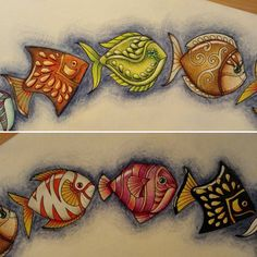 Six new little fish! Faber Castell Polychromos, Johanna Basford Coloring Book, Little Fish, Fish Art, Coloring Book Pages, Colorful Drawings, Art Techniques, Adult Coloring, Embroidery Patterns