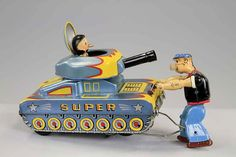 Linemar lithographed-tin, battery-operated Popeye Stopping Tank