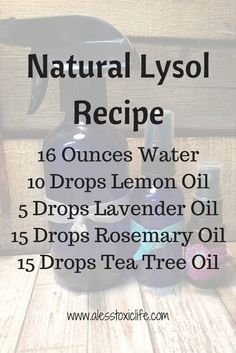 Natural Lysol Recipe - homemade spray with essential oils to kill germ and disinfect diyessentialoil essentialoils housecleaning cleanwithouttoxins lavender teatreeoil youngliving doterra Essential Oils Cleaning, Essential Oil Uses, Doterra Essential Oils, Essential Oil Diffuser, Lavender Essential Oils, Essential Oil Cleaner, Antibacterial Essential Oils, Citronella Essential Oil, Homemade Essential Oils