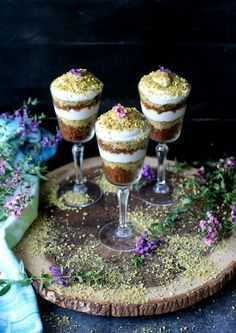 Coconut Cream Carrot Halwa Trifle www.peasandpeonies.com Yes, that is a fancier looking Gajar Halwa! Can you ever image our Indian dessert could look like that? Infused with coconut cream and pistachio, this one makes one stunning wedding dessert!