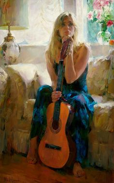 Beautiful Paintings by Moscow based Artist Michael and Inessa Garmash Foto Art, Art Plastique, Playing Guitar, Beautiful Paintings, Figure Painting, Figurative Art, Female Art, Female Portrait, Amazing Art