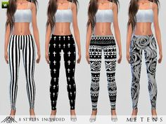 Fait- Leggings with beautiful black and white patterns: aztec, roses, crosses, lines and much more! Found in TSR Category 'Sims 4 Female Leggings'