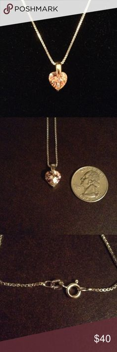 """NWOT 18"""" Pink CZ Heart on Light Box Chain Pink CZ Heart with Polished Sterling silver bale on 18"""" light box chain. Jewelry Necklaces"""